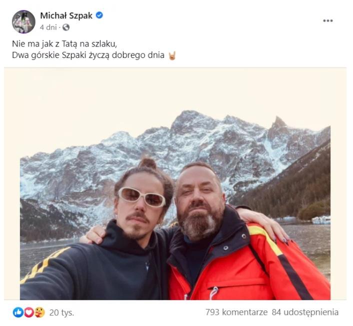 Michał Szpak pokazał  w serwisie Facebook zdjęcie na którym prócz niego występuje ojciec, fotografia stała się prawdziwym hitem