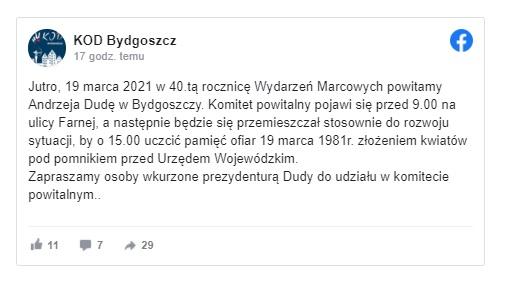Bydgoski Marzec: Andrzej Duda i Mateusz Morawiecki pojawili się na uroczystościach w Bydgoszczy, uroczystości przeszkodził KOD