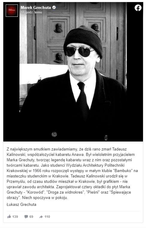 Tadeusz Kalinowski, wybitny muzyk twórca kabaretu Anawa, a prywatnie przyjaciel Grechuty nie żyje, śmierci poinformował syn Łukasz Grechuta