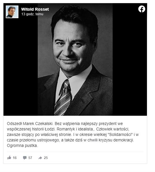 Marek Czekalski nie żyje, były prezydent Łodzi miał zaledwie 68 lat, w czasach PRL działał aktywnie w opozycji, na scenie politycznej występował pod szyldem Unii Wolności. Prywatnie był przyjacielem Marka Edelmana.
