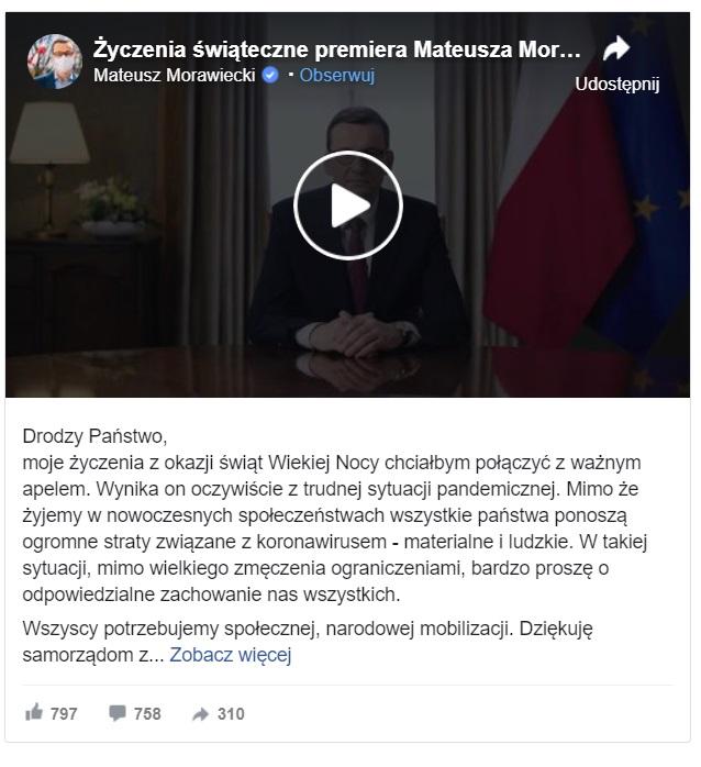 Mateusz Morawiecki za pośrednictwem nagrania złożył Polakom życzenia świąteczne. Nie były one takie jak zwykle, wszystko przez pandemię